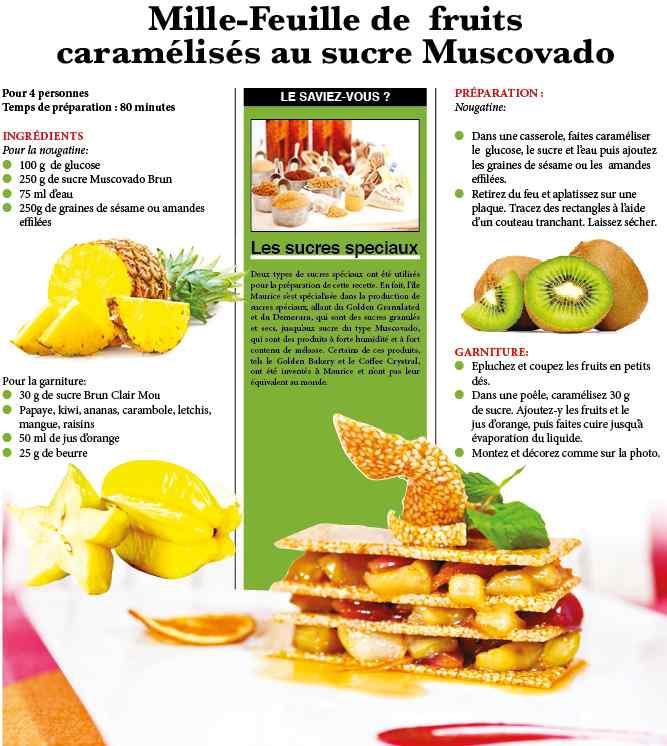 Mille-feuille de fruits caramélisés au sucre Muscovado