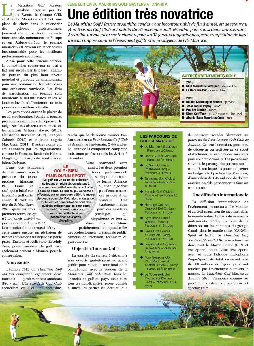 6ème Édition du Mauritius Golf Masters at Anahita