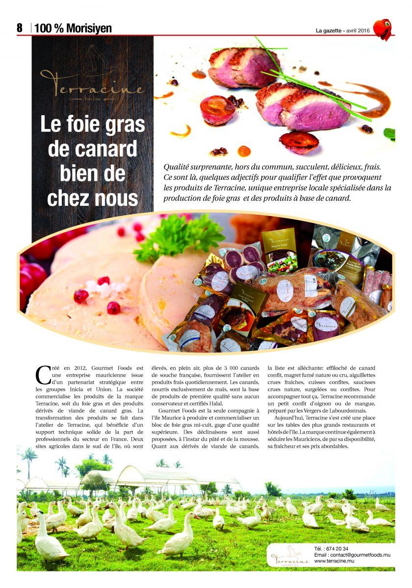 Terracine : le foie gras de l'île Maurice